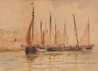 ships in a harbor; fishing vessel (2 works) by lionel percy smythe