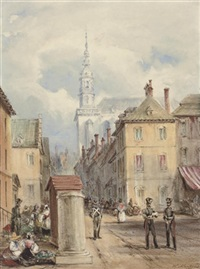 grande place, mons with the church of elizabeth by henry martens