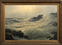crashing waves, maine coastline by josef m. arentz