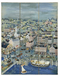 three-panel screen with bird's-eye view of providence by maxwell mays