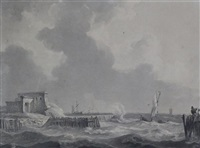 small ships at the mouth of a harbour by johannes christiaan schotel
