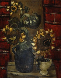tournesols au pot bleu by yves ganne