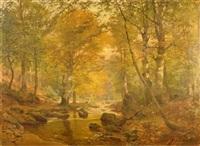 im frühherbst, blick in lichten laubwald mit ruhigem bachlauf by heinrich böhmer