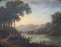 extensive lake landscape with figures (+ another; pair) by john rathbone