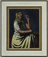 jeune femme au foulard vert by jeanne janebe (barraud pellet)