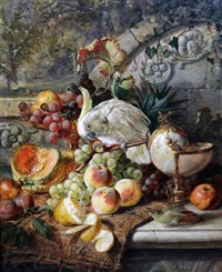 still life of fruit on a ledge with a cockatoo by joseph denovan adam