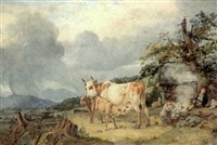 kuh mit ihren kälbchen vor einer berglandschaft by johann michael (volz) voltz