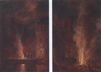 ein von figuren umgebene, nächtliche wärmefeuer by jürgen ovens
