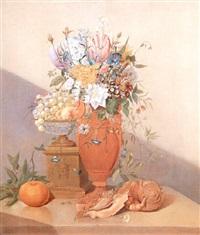blumenstilleben mit muscheln und einer orange by anthony oberman