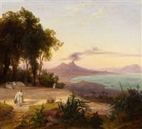 bucht von neapel mit blick auf den vesuv by august wilhelm julius ahlborn
