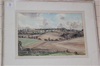 downland and plough, top of duncton hill by claude muncaster