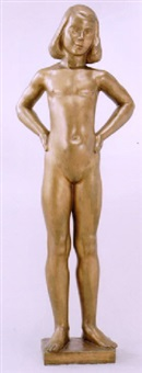 lolo - stående liten flicka by thorwald alef