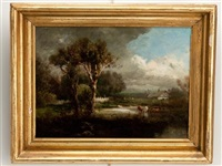 landscape with cattle in stream by patrick vincent berry