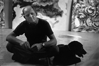 pollock and his dog relax, east hampton by tony vaccaro