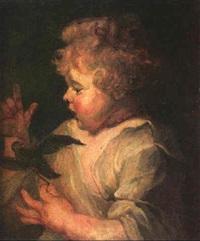 niño con pajarito by andreas moe