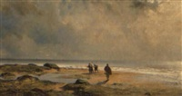 gatherers on the beach by henri le hon