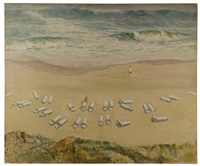 bird's-eye oceanside scene of two figures surounded by lounge chairs by edmund f. ward
