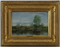 au bord de l'étang, paysage animé by alfred joseph dannequin