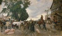 pferdemarkt vor den toren einer kleinstadt by franz gustav hochmann