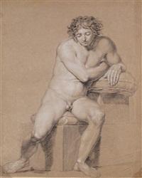 männlicher akt von vorn, sitzend, sich auf kissen lehnend by philipp otto runge