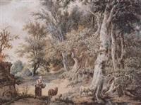 bäuerin neben malerischer kate mit drei schafen by francois joseph pfeiffer the younger