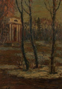 landscape with folly by leonard (leonid) viktorovich turzhansky