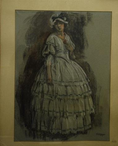 femme au bouton de rose by edouard elzingre