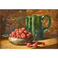 still life of raspberries with pitcher by emma levina swan