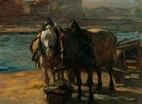 zwei pferde im geschirr am flussufer by emanuel hegenbarth