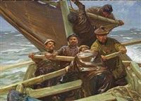 fiskerbåden går ud by friedrich klein-chevalier