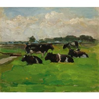 polder landscape with group of five cows by piet mondrian