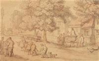 scene outside country inn by thomas rowlandson