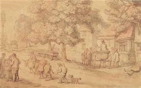 scene outside country inn by thomas rowlandson