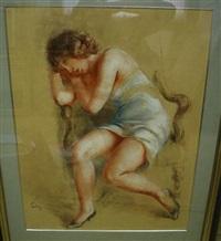 jeune femme accoudée sur un fauteuil by jules fehr