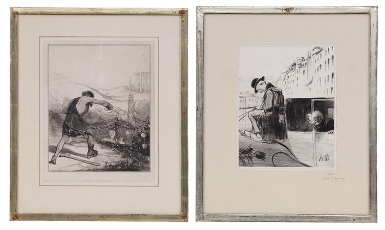 un fiacre à lheure pris au piège 2 works by honoré daumier