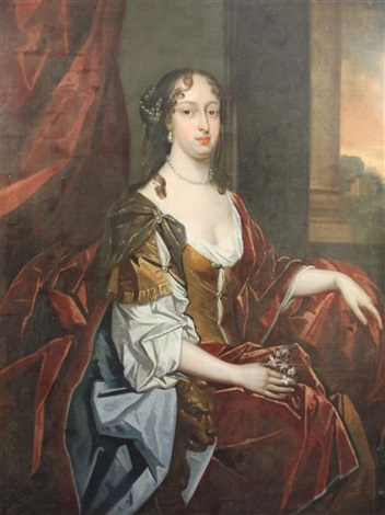 three quarter length portrait of catherine of braganza by sir peter lely