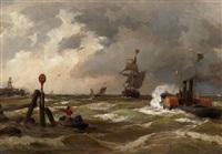 schiffe in rauher see an der küste vor bremerhaven by albert halle
