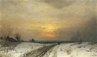 abendliche winterlandschaft by sophus jacobsen