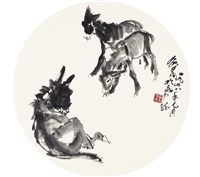 three donkeys by huang zhou