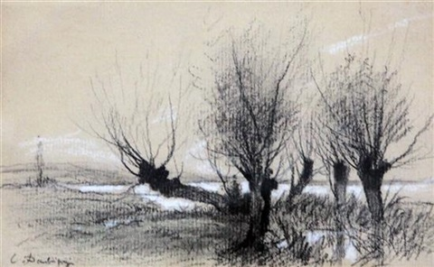 willow trees beside a river by charles françois daubigny