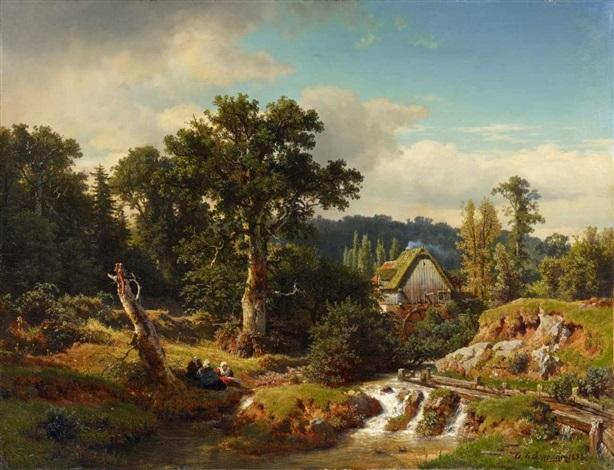 landschaft mit wassermühle by andreas achenbach