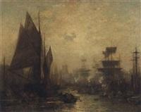 dieppe harbour by pierre eugene grandsire