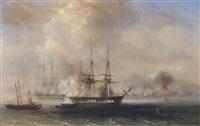 franske skibe i soslag ud for kysten by barthélemy lauvergne