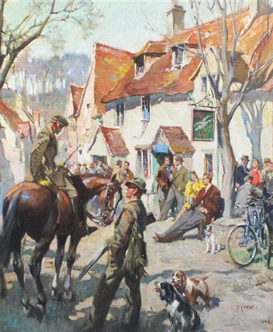 britain in winter shooting party outside the flying swan by terence cuneo