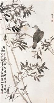 别院花飞两乍晴 镜框 设色纸本 by xu xiaobin