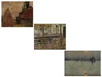 nächtlicher blick über eine hafenbucht im mondschein mit segelschiff (+ 2 others; 3 works) by felix gogo