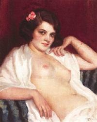 bildnis einer jungen schönheit mit entblößter brust by janos laszlo aldor