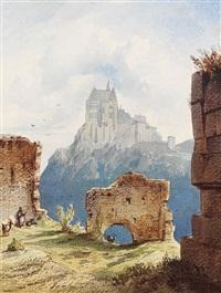 ruinen mit blick auf eine burg by christian jank