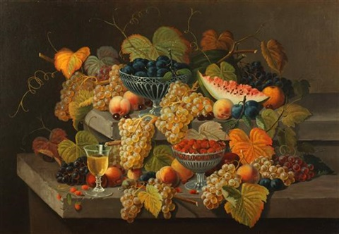 still life with fruit and glass of white wine by severin roesen