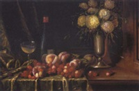 opstilling med kirsebær og ferskner på en karm by karl müller